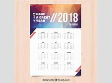 Calendario 2018 moderno Descargar Vectores gratis