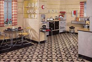 Retro kitchen design sets and ideas for 1930s interior design style