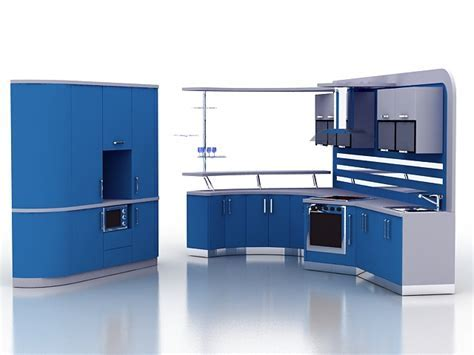 Modern blue kitchen cabinets 3d model 3ds max files free