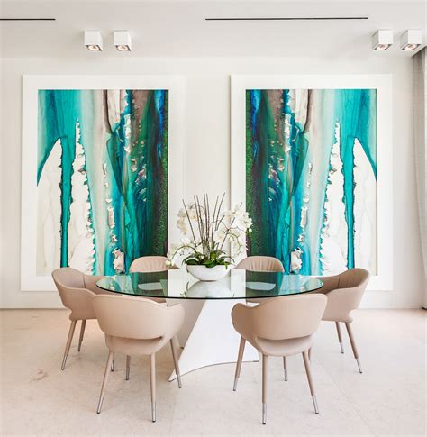 Artwork ideas dining room contemporary with oval dining