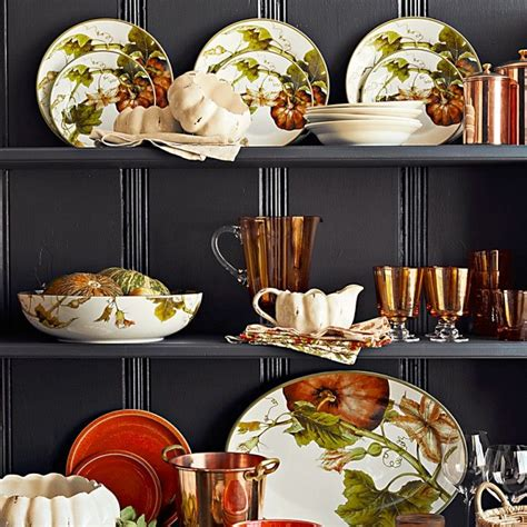 botanical pumpkin dinner plates set   thanksgiving