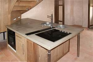 plan de travail cuisine beton baton cira sur carrelage With beton cire plan de travail cuisine castorama