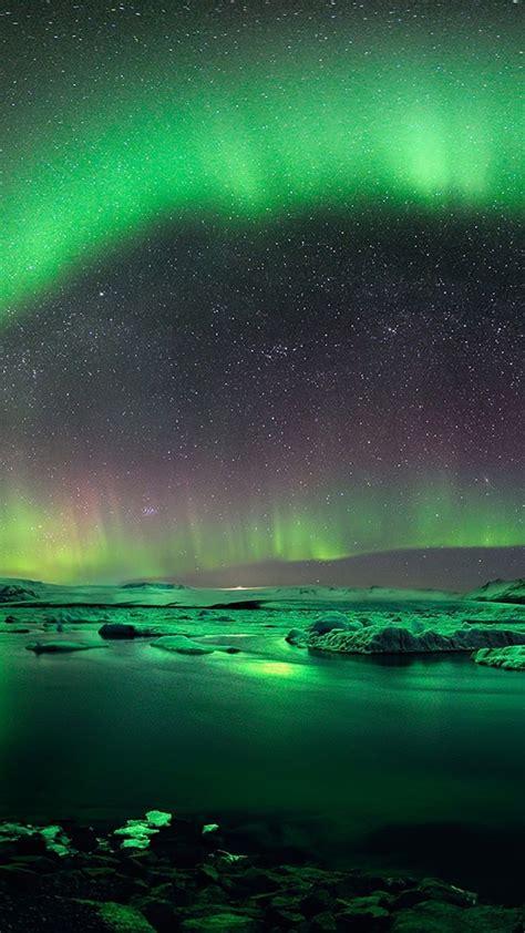 aurora borealis iceland green galaxy  wallpaper