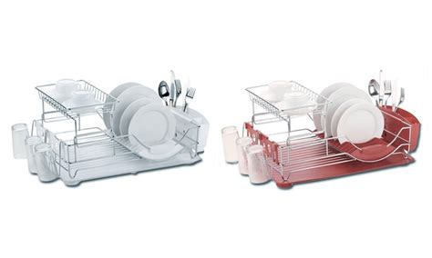 home basics 2 tier dish rack home basics 2 tier dish rack groupon goods