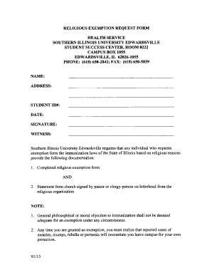 illinois religious exemption form siue religious exemption form pdf fill online printable