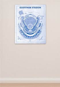 Kauffman Stadium Seating Chart Kauffman Baseball Stadium Print Blueprint On Kansas City