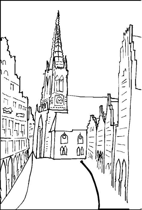 kirche  einer altstadt ausmalbild malvorlage religion
