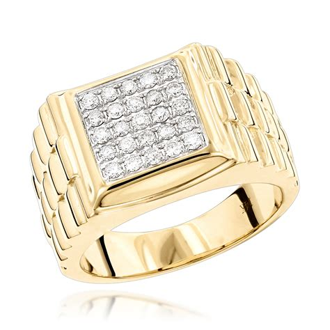 gold princess cut engagement rings rings mens gold ring by luxurman 0 55ct 14k