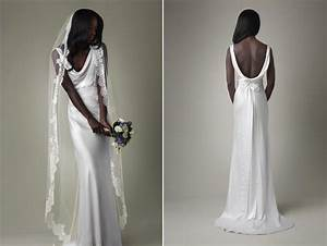 Simple white silk mermaid wedding dress with open back for White silk wedding dress