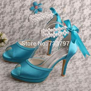 brand name pearl strap sky blue dress shoes wedding for With blue dress shoes for wedding