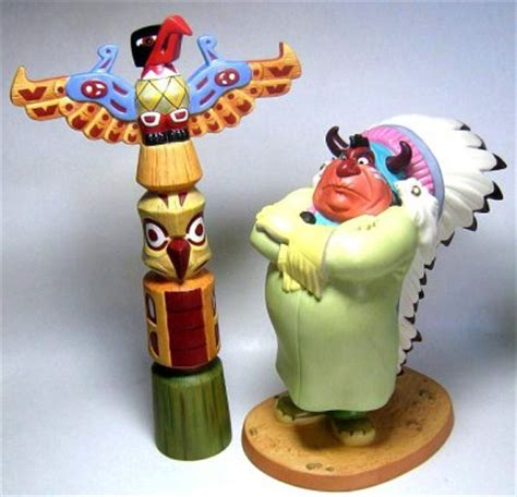 indian chief totem pole figurine  fireside