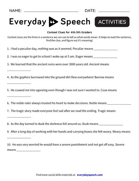 context clues    graders everyday speech