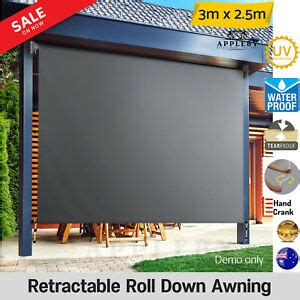 retractable outdoor blind privacy screen garden awning canopy window  ebay