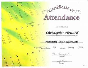 Perfect Attendance Certificate Template Employee Attendance Certificate Template Image Collections Certificate Design And Template