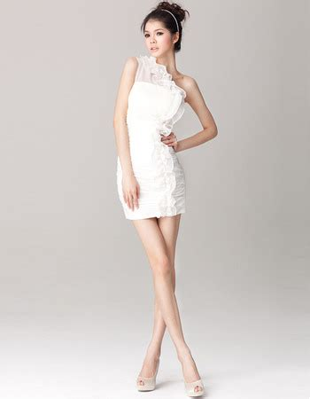 Sexy Column/ Sheath One Shoulder Sheath Chiffon Short