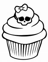 Cupcake Coloring Skull Cupcakes Awesome Pages Drawings Adult Netart Colouring Icolor Cakes Sprinkles Tattoo Line Minnie Mouse sketch template