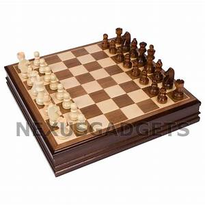 Chess Board Game Set 15 Inch Walnut Finish Inlaid Wood