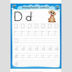 Letter D Is For Dog Handwriting Practice Worksheet  Free Printable Puzzle Games