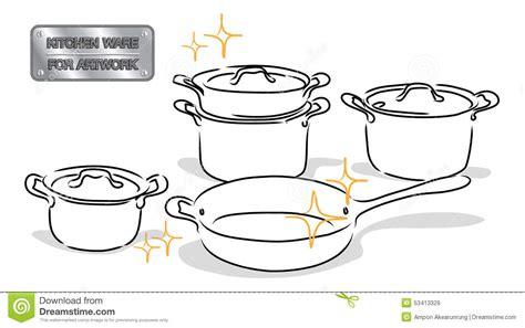 dessins cuisine vaisselle de cuisine de dessin illustration de vecteur