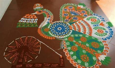 top  latest  beautiful easy peacock rangoli design