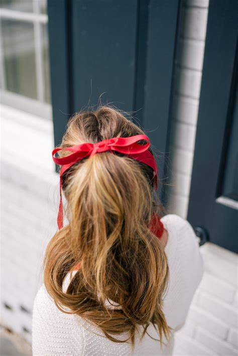 Gal Meets Glam Holiday Red High Pony Tail And Red Ribbon