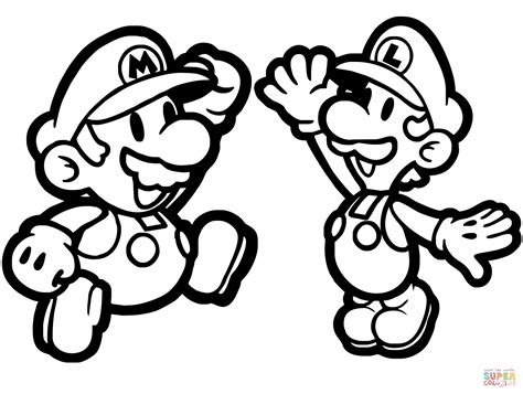 coloring paper paper mario and luigi coloring page free printable
