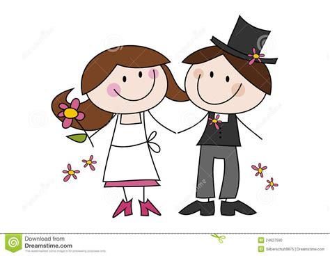 Cute Cartoon Wedding Couple Stock Vector