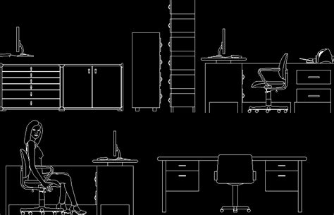 elevation of office furniture in autocad drawing bibliocad
