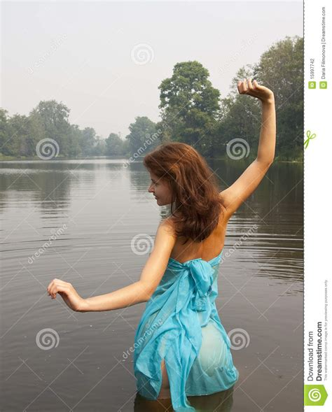Naked Girl Against River Stock Images Photos