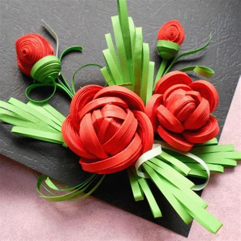 quilled rose  handmade tools  steps  pictures