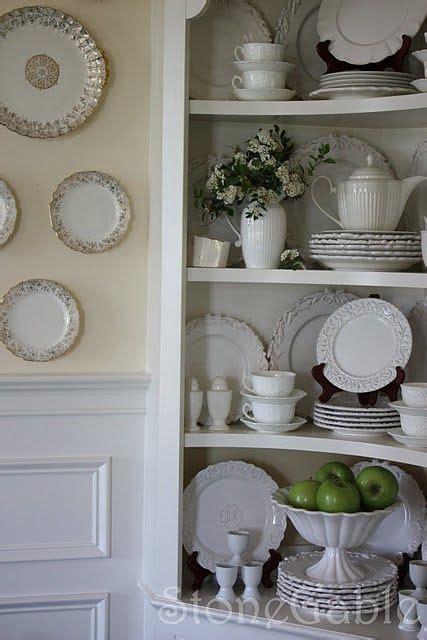 stonegable decorating  dishes china cabinet decor china cabinet display decor