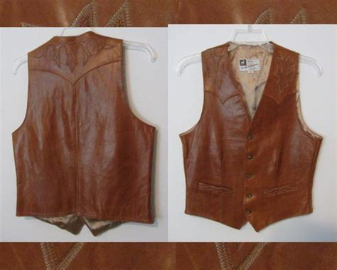Mens Vintage Western Vest Leather Sully By Chermycloset On