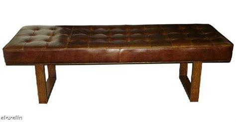 Modern Genuine Leather Bench, Ottoman, Coffee