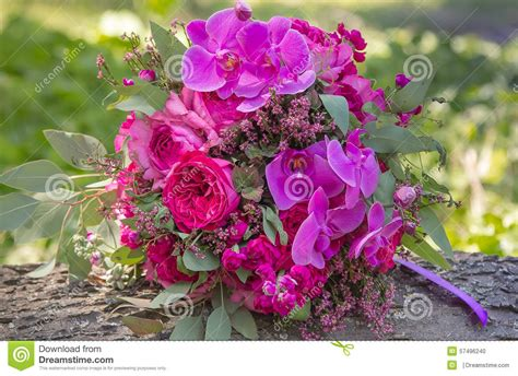 Pink And Purple Wedding Bouquet Stock Photo Image Of