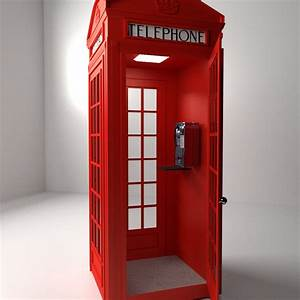 Red Phone Booth 3D Model .3ds .fbx .blend .dae