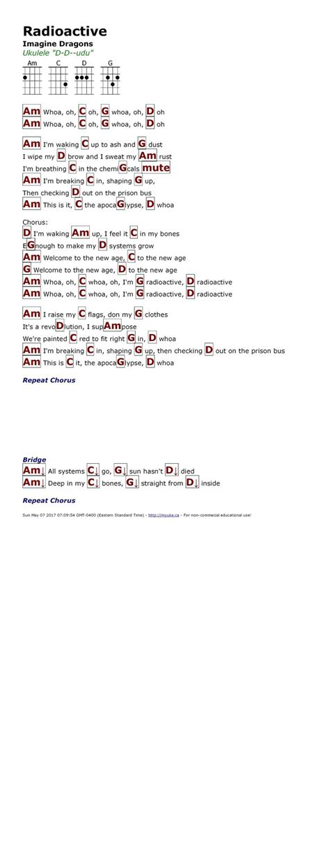 Radioactive Guitar Chords Easy