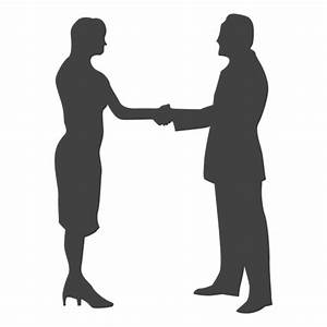 Businesswoman meeting businessman silhouette - Transparent ...