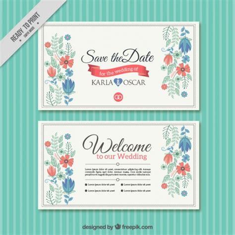 pretty floral wedding card template vector