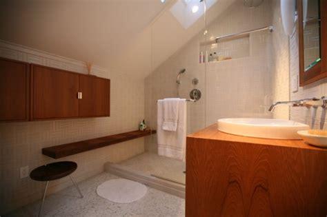 efficient    attic  sleek attic bathroom