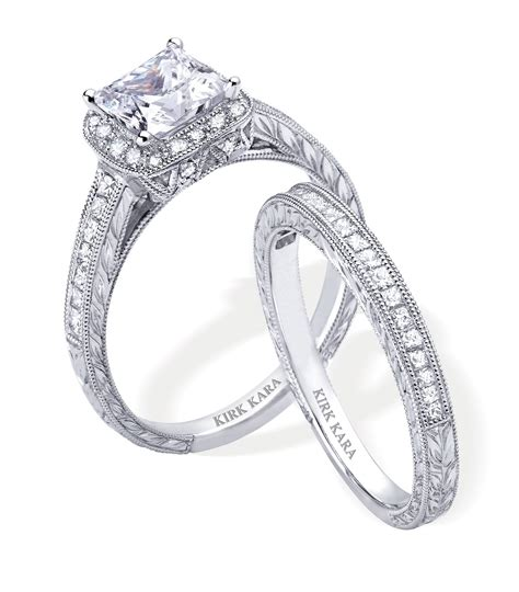 dazzling platinum and engagement ring and wedding band by kirk kara onewed