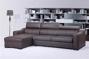 Chocolate brown italian leather modern sleeper sectional sofa for Modern leather sleeper sofas