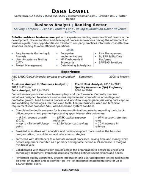 Business Analyst Resume Sample Monstercom