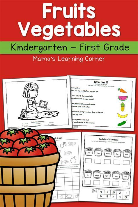 fruit  vegetable worksheets  kindergarten