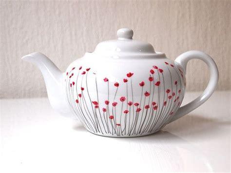 Hand Boden Mohn-malte Limoges Porzellan Teekanne Von