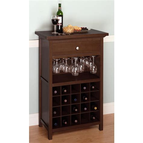 wine glass holder cabinet amazon com winsome wood wine cabinet with drawer and