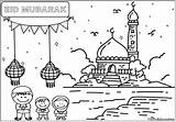 Eid Colouring Standing Fitr Ul Sheets Celebrate While Children These sketch template