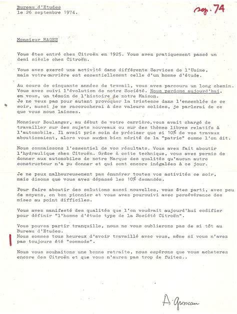 bureau de la retraite 1974 discours de monsieur grosseau lors du départ à la