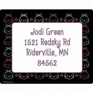 Neon kitty personalized address labels wholesale for Cheap personalized mailing labels
