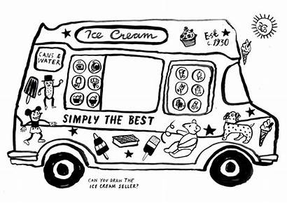 Ice Cream Coloring Truck Van Pages Drawing