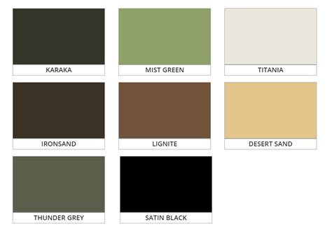 Moduline Fencing - PoolSide Fencing Colour Chart   MRF